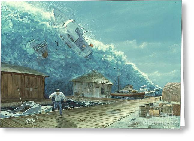 Tsunami Greeting Card by Chris Butler and Photo Researchers