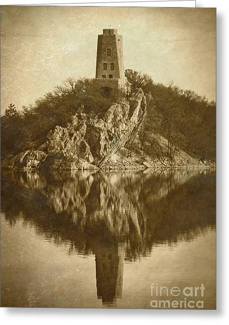 Tucker Tower In Sepia Greeting Card by Royce  Gideon