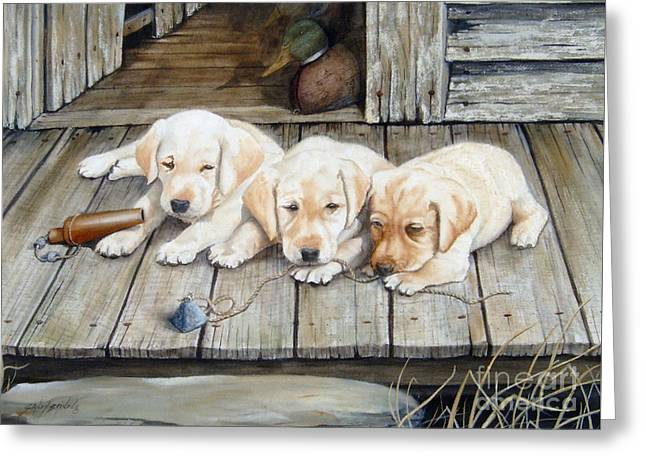 Tuckered Out Trio  Sold  Prints Available Greeting Card