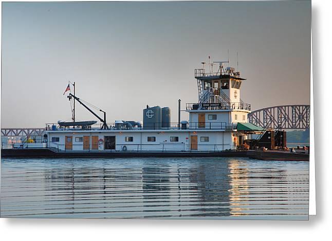 Tugboat On The Ohio I Greeting Card