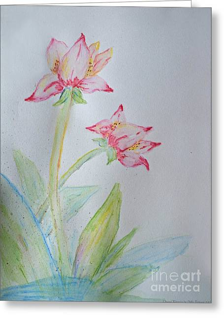 Tulip Duo I  Greeting Card by Debbie Portwood