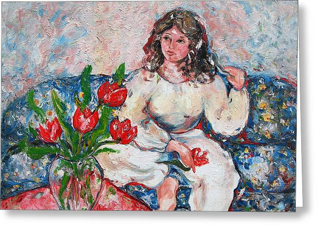 Tulip Girl Greeting Card by Elena Irving