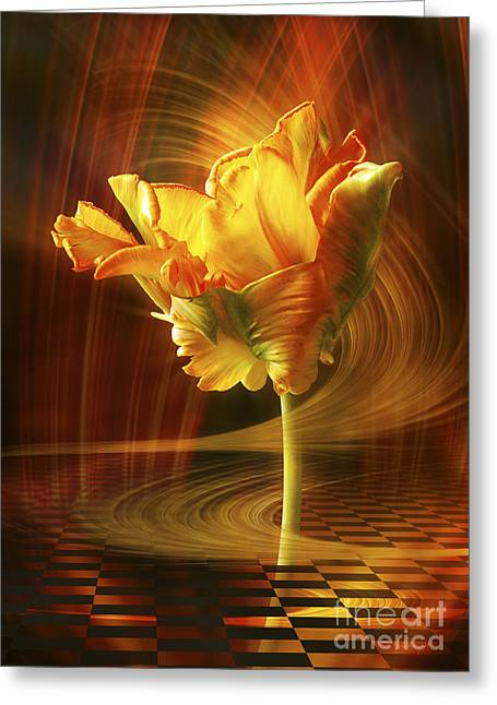 Greeting Card featuring the digital art Tulip In Movement by Johnny Hildingsson