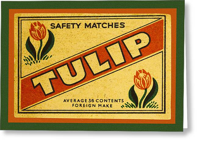 Tulip Safety Matches Matchbox Label Greeting Card by Carol Leigh