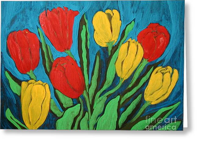Tulips Greeting Card by Anna Folkartanna Maciejewska-Dyba