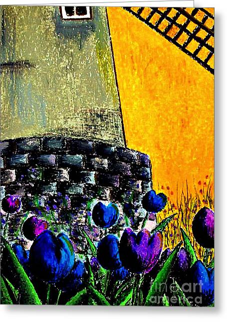 Tulips By The Mill Greeting Card by Aisa  Mijeno
