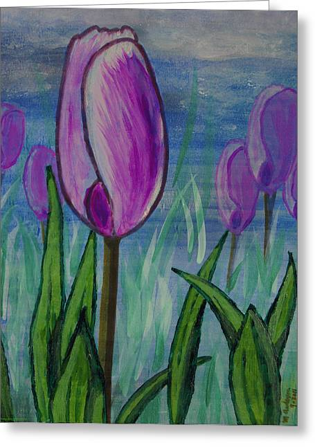 Tulips In The Mist Greeting Card