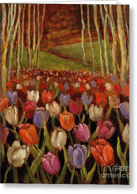 Tulips In The Woods Greeting Card
