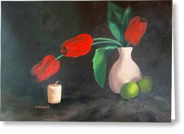 Tulips Limes And Candle Greeting Card