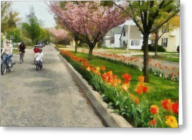 Tulips On The Boulevard Holland Michigan Greeting Card by Michelle Calkins