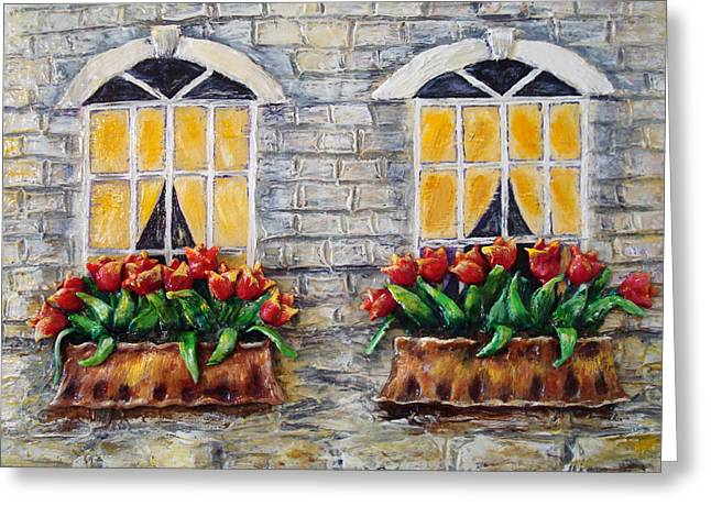 Tulips On The Wall Greeting Card