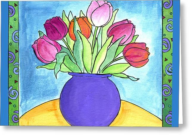 Tulips Greeting Card by Pamela  Corwin