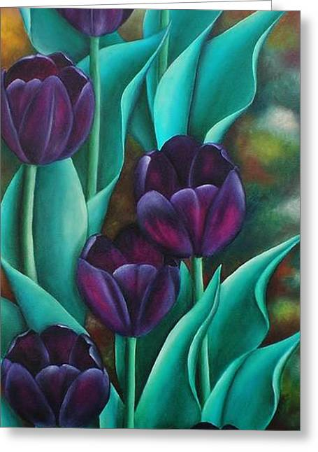 Tulips Greeting Card by Paula Ludovino