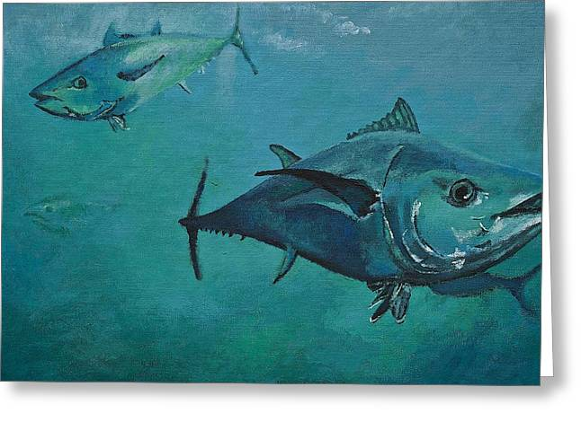 Tuna School Greeting Card by Terry Gill