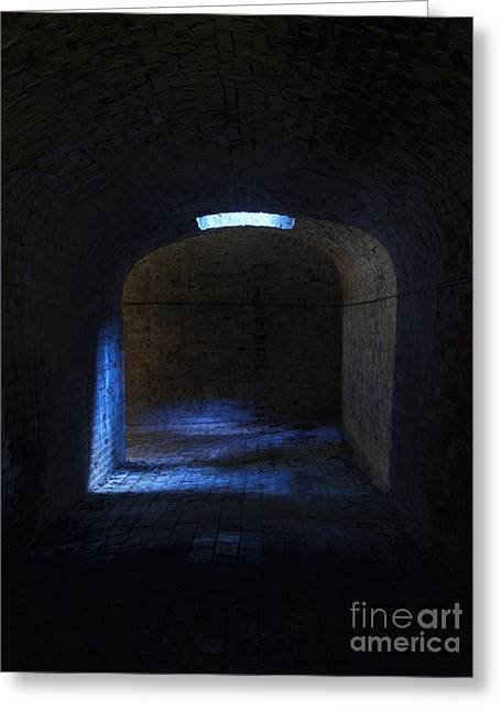 Tunnel In Blue Greeting Card by Steev Stamford
