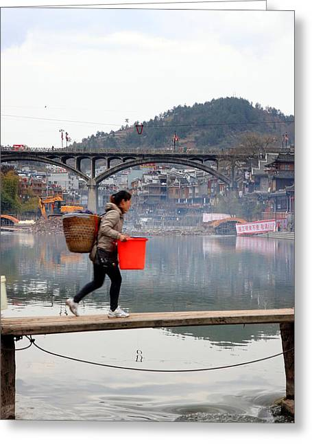Tuojiang River In Fenghuang Greeting Card by Valentino Visentini