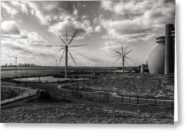 Turbines In Motion Greeting Card by Andrew Kubica