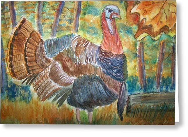 Turkey In Fall Greeting Card by Belinda Lawson