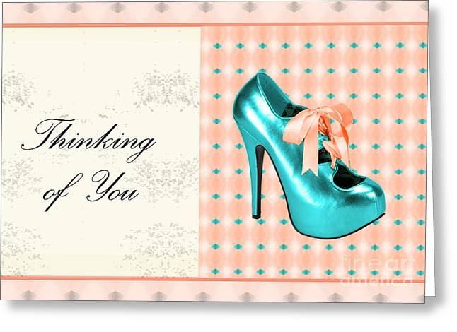 Turquoise Shoe Thinking Of You Greeting Card