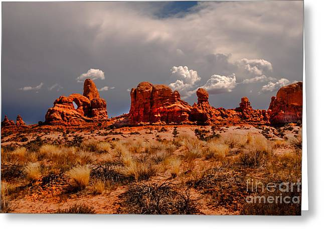 Turret Arch And Storm Clouds Greeting Card by Robert Bales