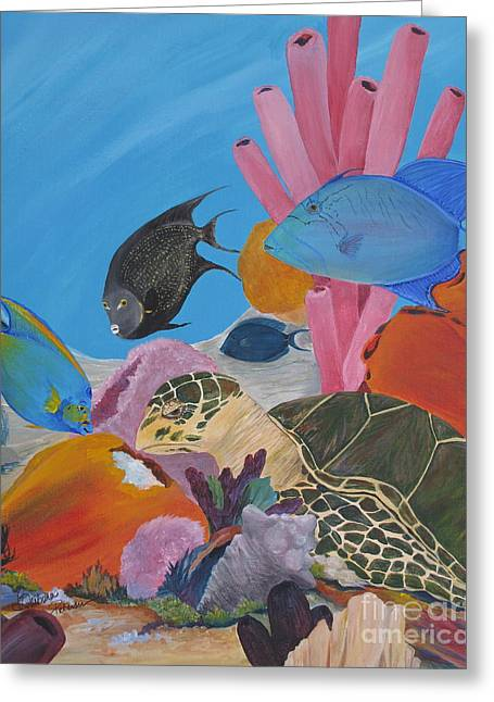 Turtle And Friends Greeting Card by Barbara Petersen