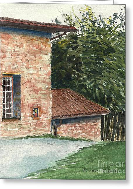 Greeting Card featuring the painting Tuscan Brick And Bamboo by Joan Hartenstein
