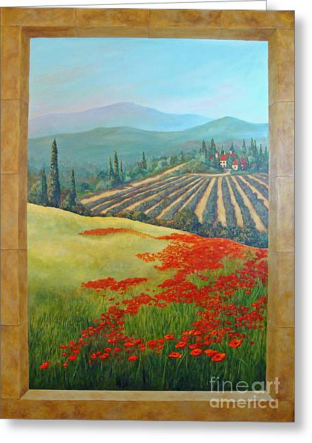Greeting Card featuring the painting Tuscan Vista by Phyllis Howard