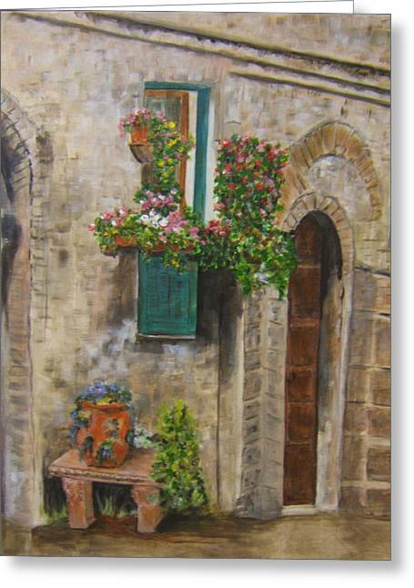 Tuscan Window Greeting Card by Maureen Pisano