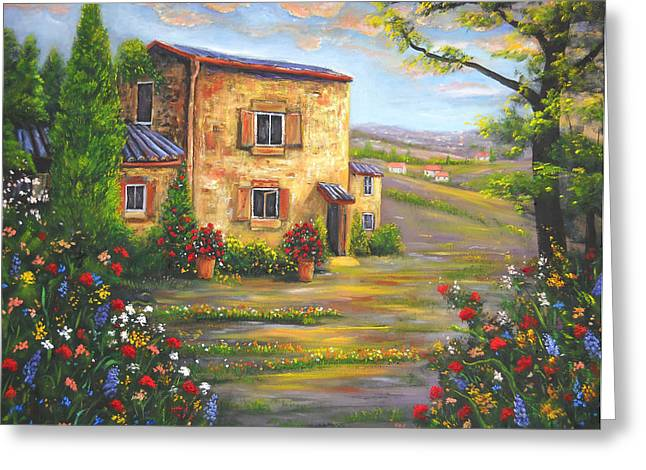 Tuscany Farmhouse Greeting Card by Connie Tom
