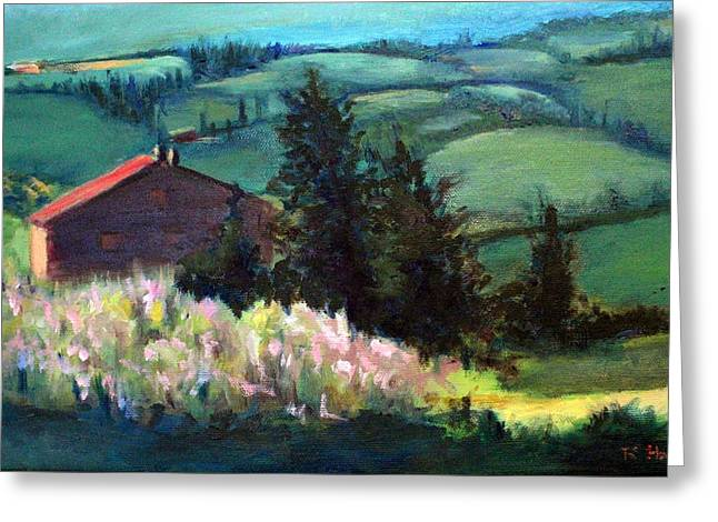 Greeting Card featuring the painting Tuscany by Rosemarie Hakim