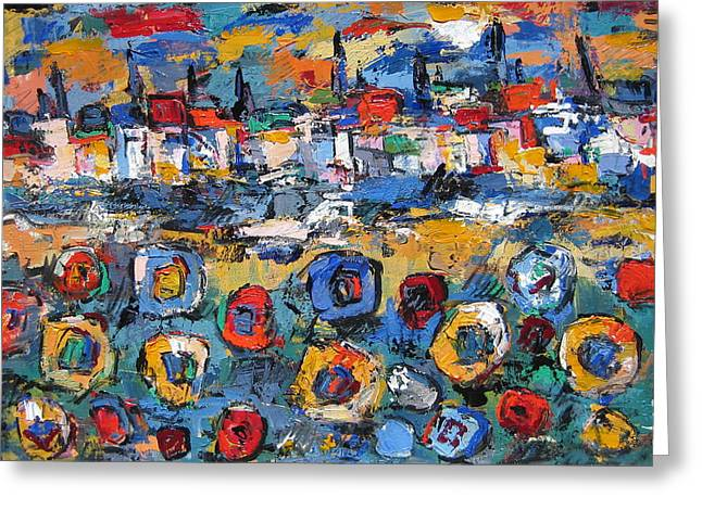Portofino Italy Artist Greeting Cards - Tuscany With Sunflowers Greeting Card by Len Yurovsky