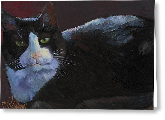 Tuxedo Cat Greeting Card by Billie Colson