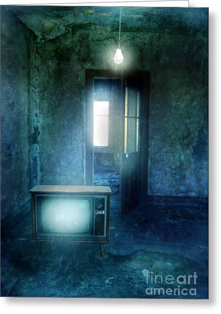 Tv And Bare Lightbulb Greeting Card by Jill Battaglia