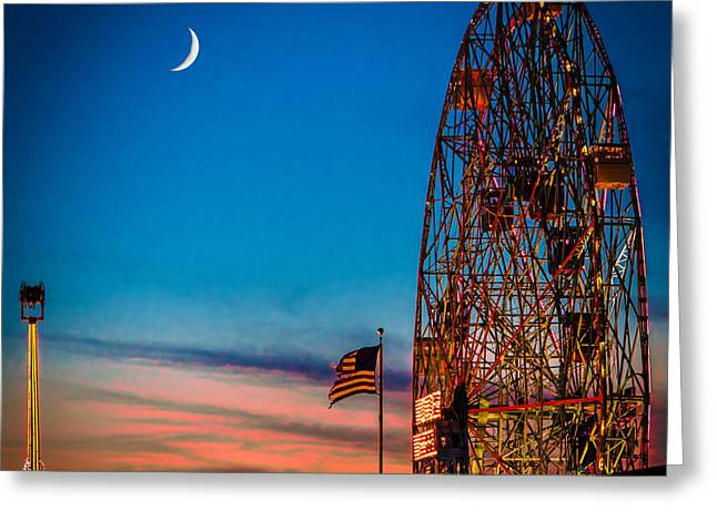 Twilight At Coney Island Greeting Card by Chris Lord