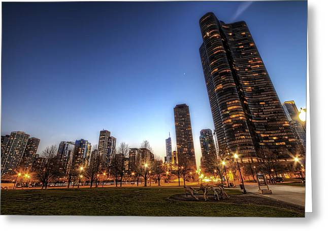 Twilight In Chicago Greeting Card by Brad Granger