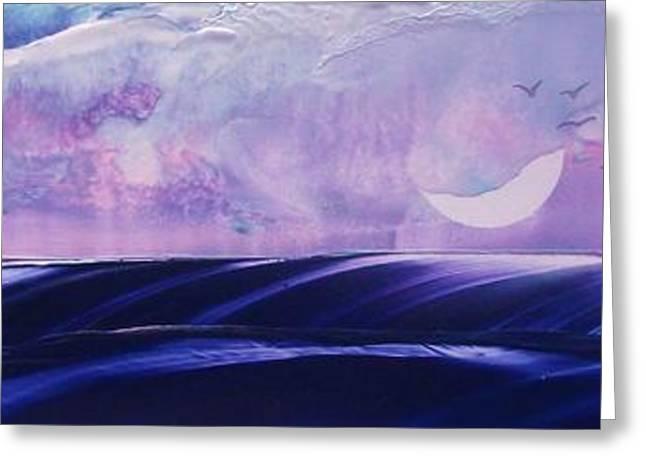 Twilight Moon Rise Greeting Card by Danita Cole