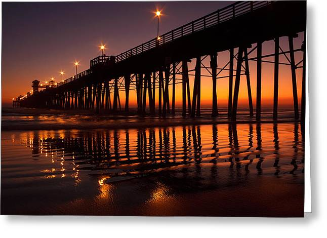 Twilight Night Lights Greeting Card by Donna Pagakis