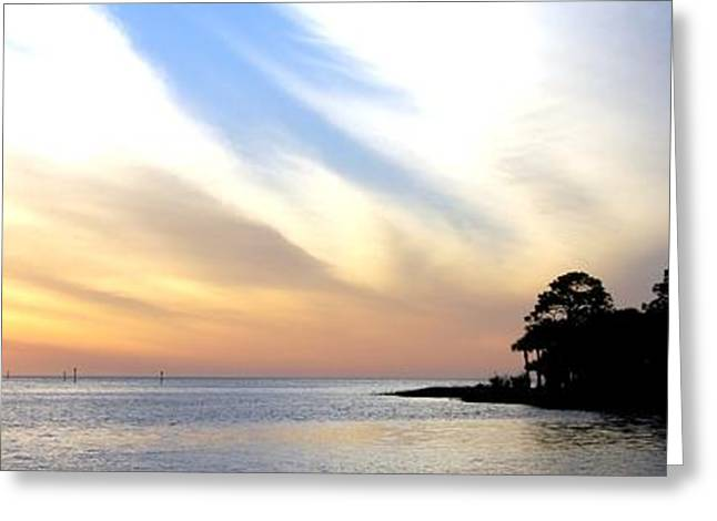 Twilight On The Gulf Greeting Card by Judy Hall-Folde