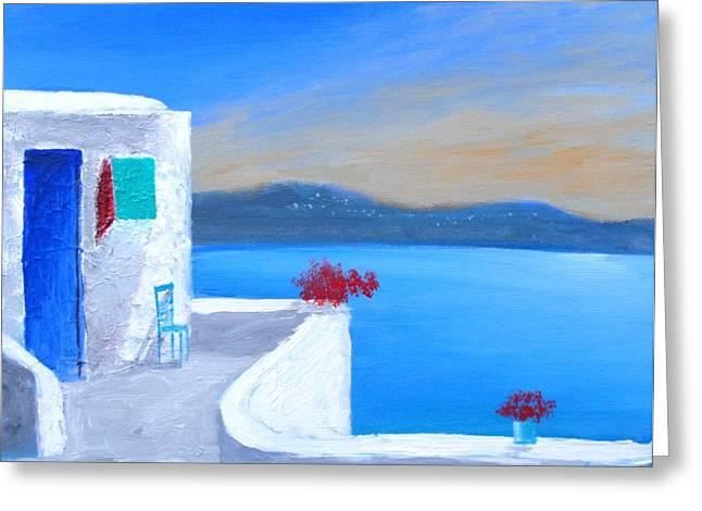 Twilight Santorini Greeting Card