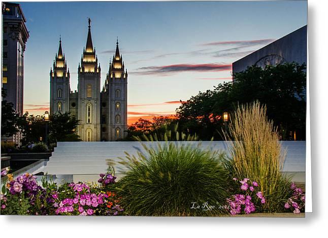 Twilight Slc Temple Grass Greeting Card by La Rae  Roberts
