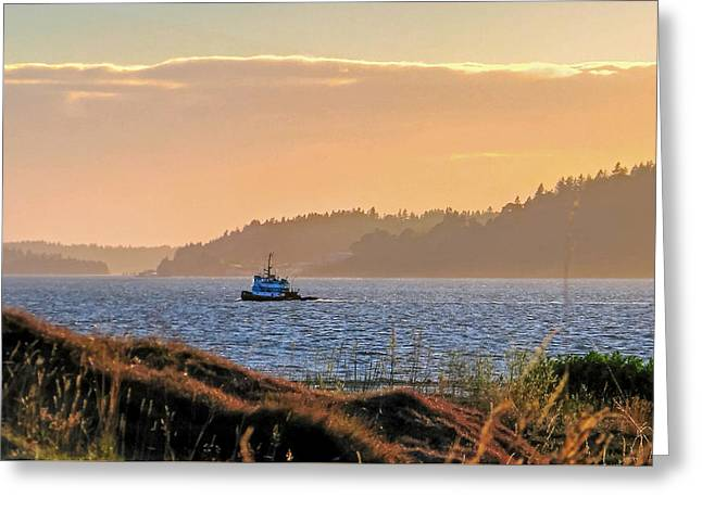 Twilight Tug -chambers Bay Golf Course Greeting Card