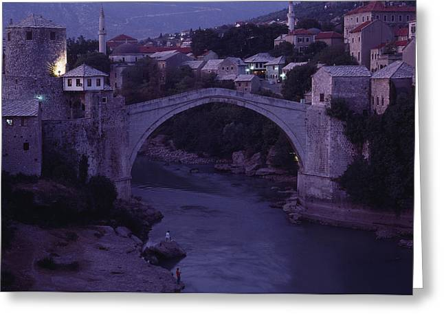 Twilight View Of A 15th-century Bridge Greeting Card by James L. Stanfield