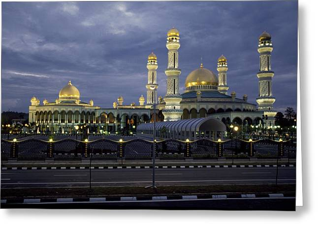 Twilight View Of An Illuminated Mosque Greeting Card by Paul Chesley