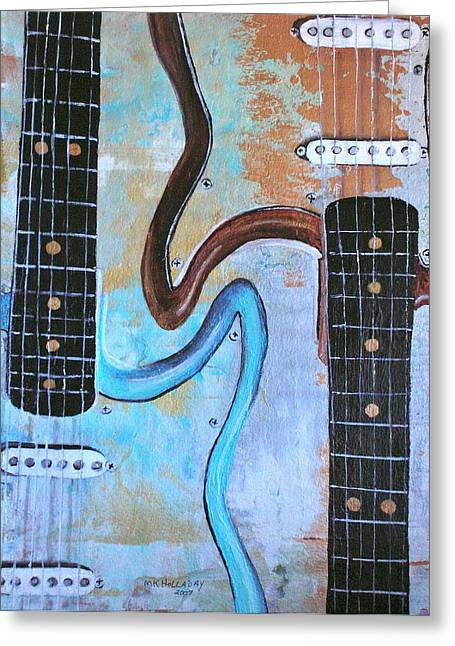 Greeting Card featuring the painting Twin Guitars by Mary Kay Holladay