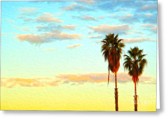 Twin Palms Greeting Card by Gregory Dyer