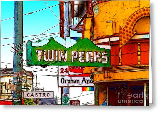 Twin Peaks Bar In San Francisco Greeting Card by Wingsdomain Art and Photography