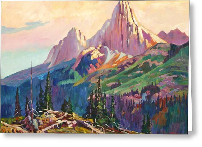 Twin Peaks Evening Light Greeting Card by David Lloyd Glover