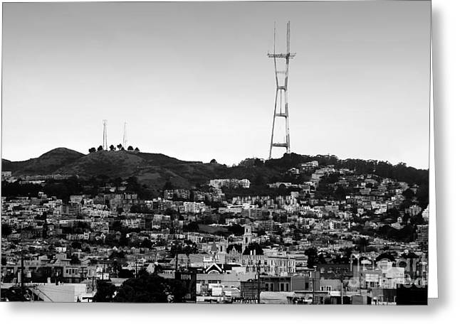 Twin Peaks In San Francisco . Black And White Greeting Card by Wingsdomain Art and Photography