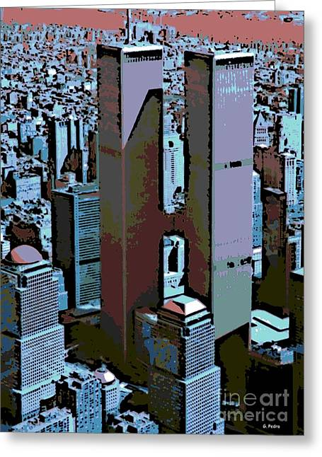 Twin Towers Greeting Card by George Pedro