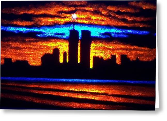 Twin Towers In Black Light Greeting Card by Thomas Kolendra